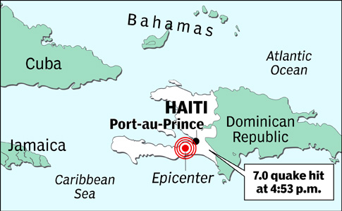 The 7.0 earthquake hit the Caribbean nation on January 12, 2010.
