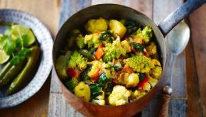 "Popular Diwali dish: saag aloo with roasted gobi curry. Keep your eye out for one of these at ""Taste of"""