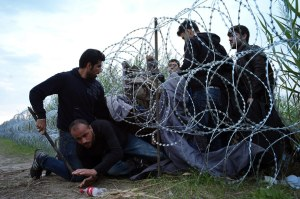 Syrian refugees attempt to cross the Hungarian-Serbian border